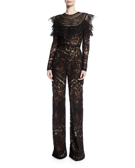 Long-Sleeve Lace-Embroidered Jumpsuit