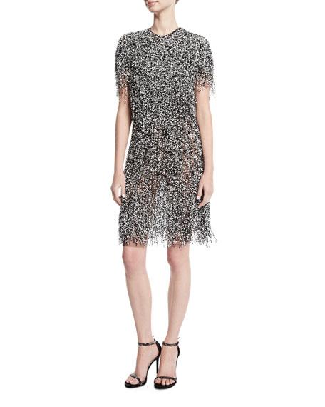 Fringed Short-Sleeve Cocktail Dress