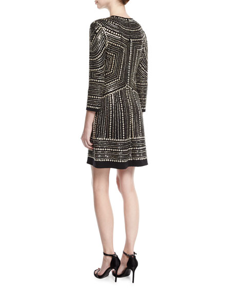 Studded 3/4-Sleeve Cocktail Dress