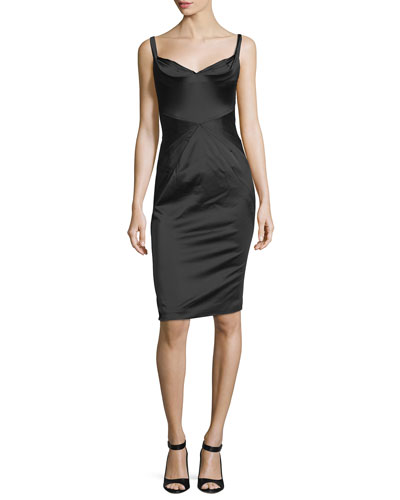 Fitted Stretch-Satin Cocktail Dress