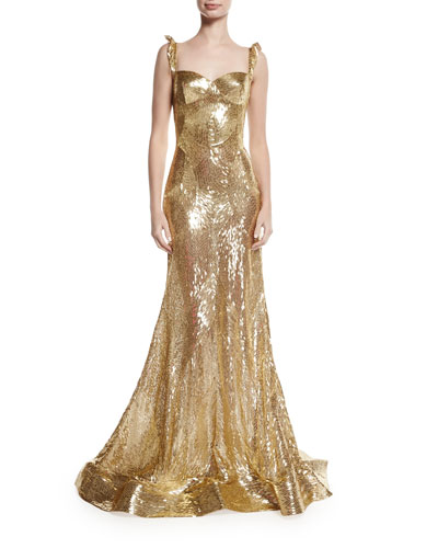 Sleeveless Sequined Sweetheart Gown
