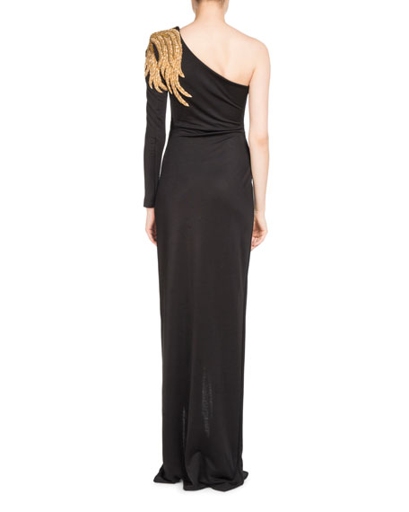 Embroidered One-Shoulder Jersey Gown