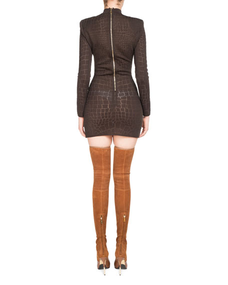 Mock-Neck Croc Devore Mini Dress