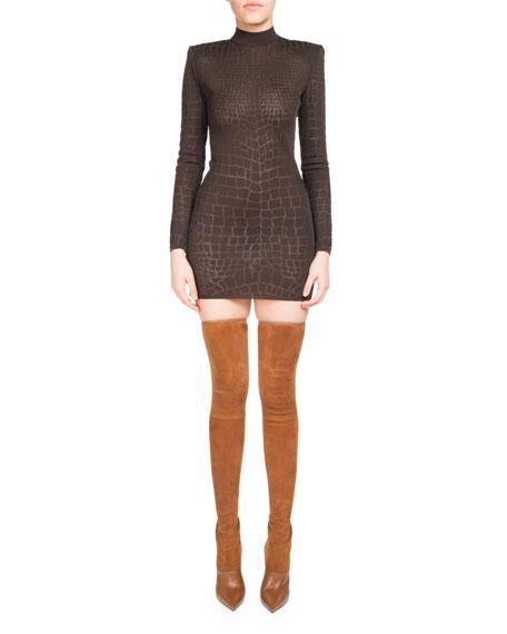 Mock-Neck Croc Devore Mini Dress