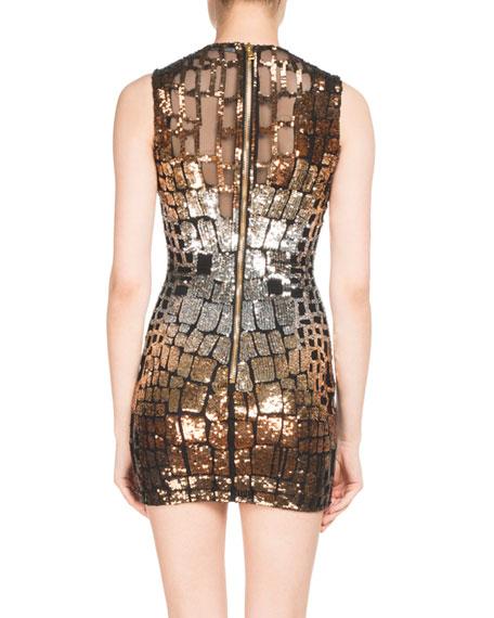 Metallic Croc-Sequined Mini Dress