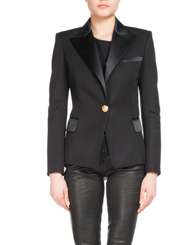 Satin Single-Button Blazer