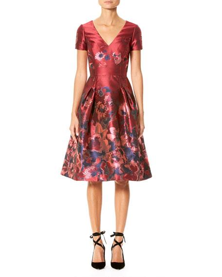 Short-Sleeve V-Neck Floral-Print Dress