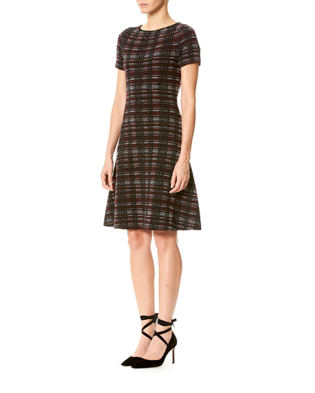 Short-Sleeve Tweed A-Line Dress
