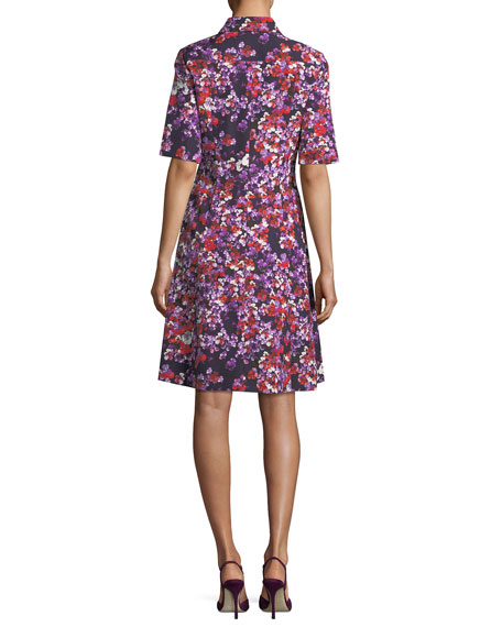 Floral-Print Elbow-Sleeve Shirtdress