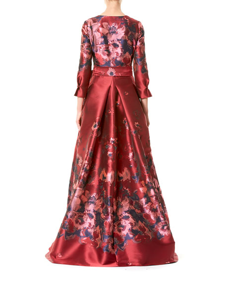 3/4-Sleeve Floral Tie-Waist Ball Gown