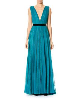 Paneled Lace Chiffon V-Neck Gown