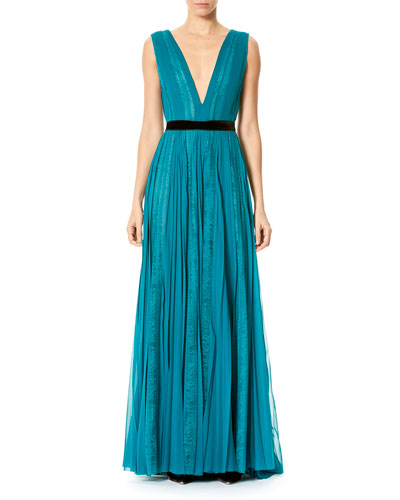Paneled Lace Chiffon V-Neck Gown