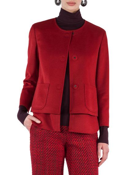 Convertible Collarless Layered Wool Jacket