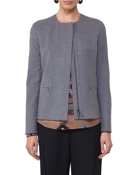Collarless Wool Jacket