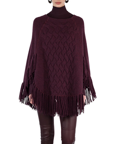 Fringed Cable-Knit Cape