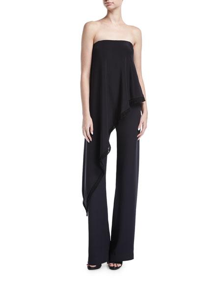Strapless Ruffled Silk Jumpsuit