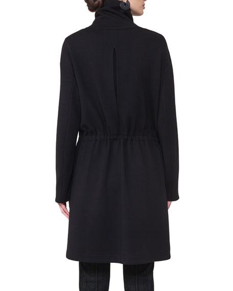 Stand-Collar Zip-Front Coat