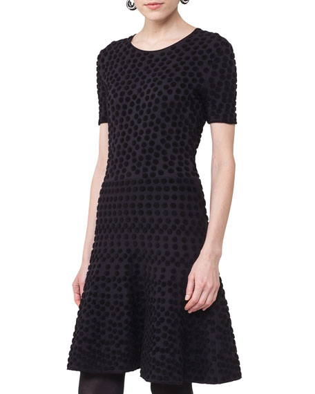 Short-Sleeve Punto Dot Dress