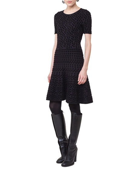 Short-Sleeve Punto Dot Dress