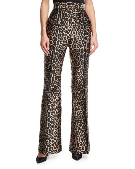 Leopard-Print Sateen Pants