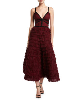 V-Neck Tiered Ruffle Gown