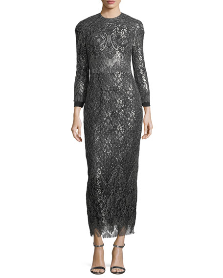 Long-Sleeve Metallic Fringed Gown