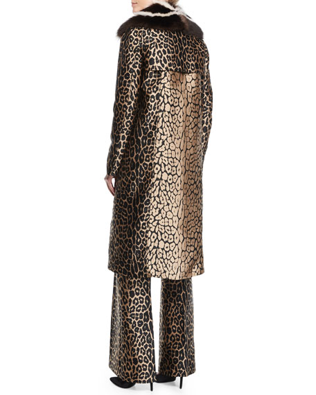 Leopard Jacquard Coat w/Fur Collar