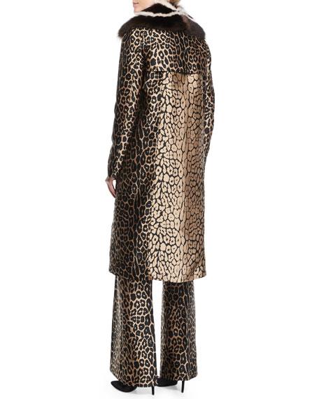 Leopard Jacquard Coat w/Fur Collar