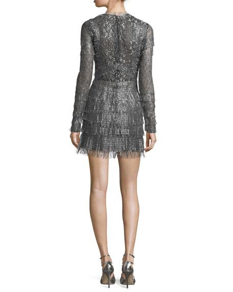 Fringed Long-Sleeve Cocktail Dress