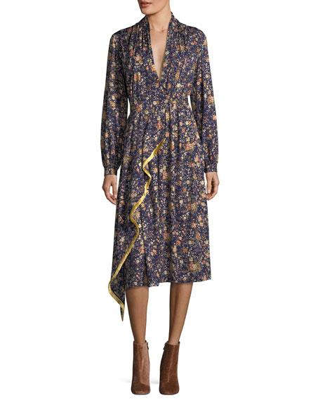 Printed Long-Sleeve Silk Dress
