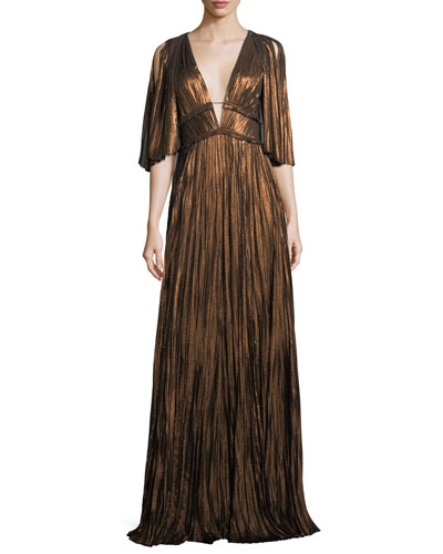 Metallic Pleated Split-Sleeve Gown