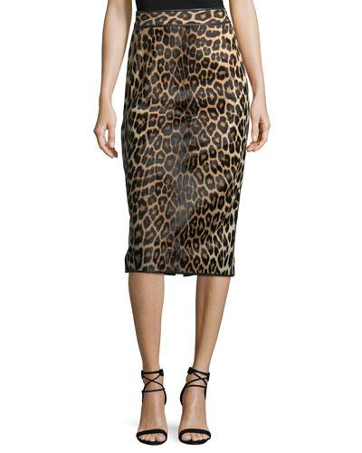 Leopard-Print Calf Hair Pencil Skirt
