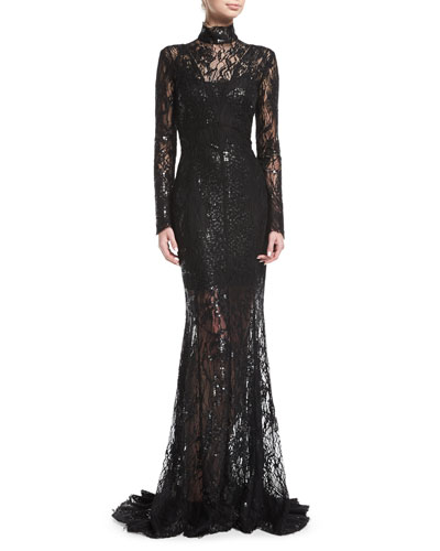 Long-Sleeve Sequined Lace Turtleneck Gown