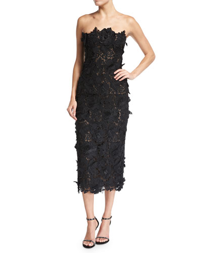 Strapless Guipure Lace Cocktail Dress