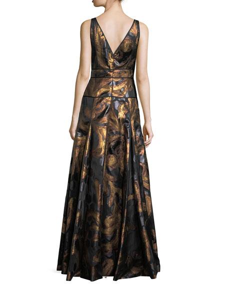 Sleeveless V-Neck Brocade Gown