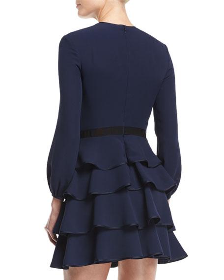 Long-Sleeve Tiered Mini Dress