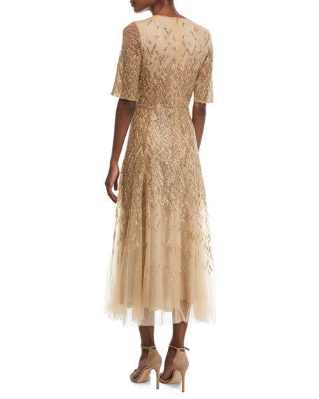 Embroidered Half-Sleeve Tulle Midi Gown