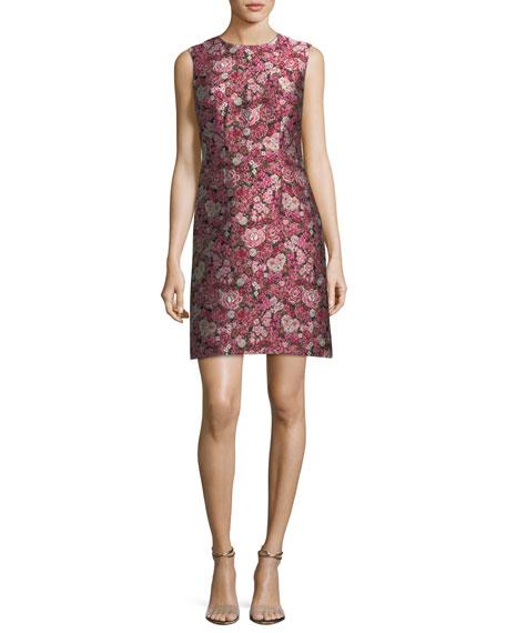 Sleeveless Floral Brocade Dress