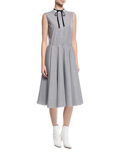 Tie-Collar Striped Dress