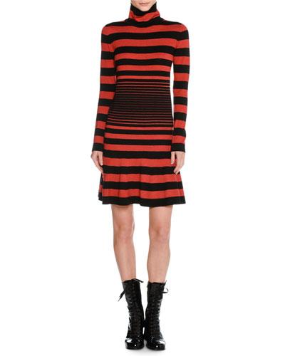 Striped Mock-Neck Sweaterdress