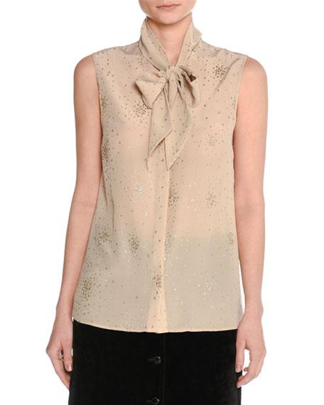 Metallic-Print Silk Blouse