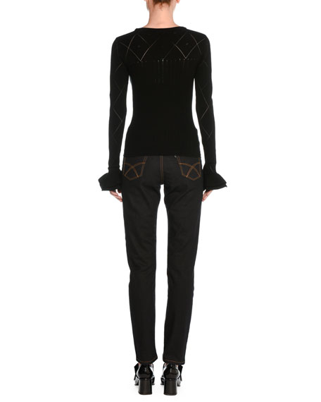 Long-Sleeve Ruffle-Cuff Sweater