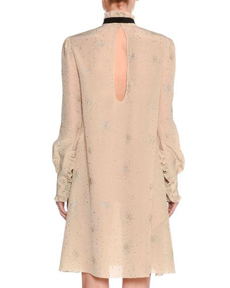 Metallic-Print Silk Tie-Neck Dress