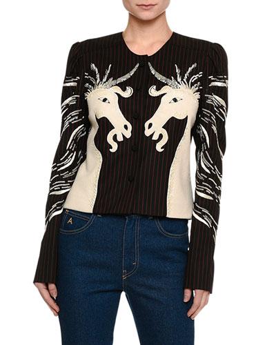 Unicorn-Embroidered Collarless Jacket