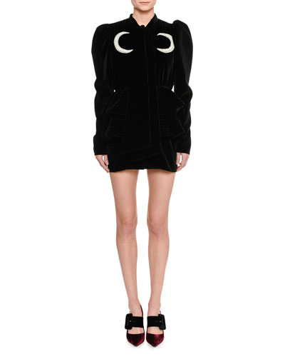 Moon-Embroidered Velvet Mini Dress