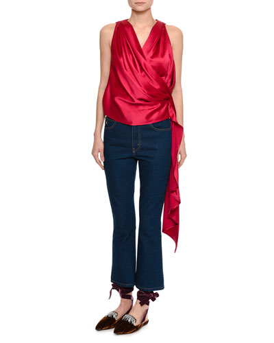 Draped Satin Wrap Top