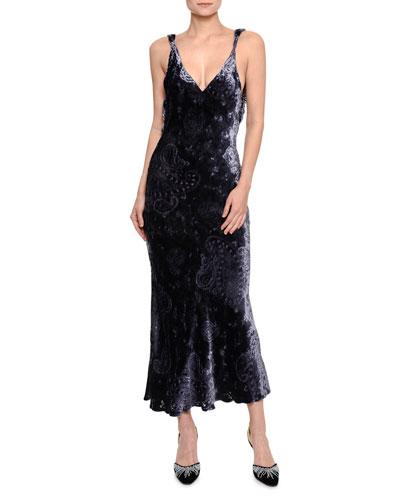 Draped Open-Back Velvet Midi Dress