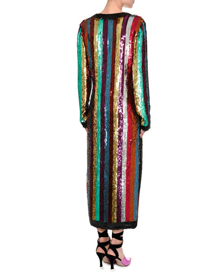 Attico Sequin Striped Robe Dress