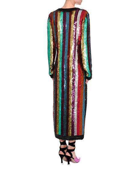 Sequin-Striped Robe Dress