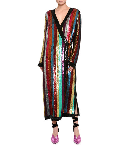 Sequin-Striped Robe Dress